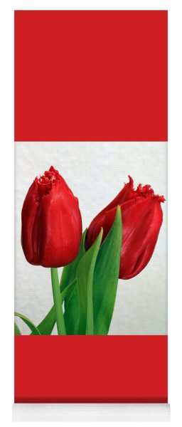 Red Tulips On White Yoga Mat