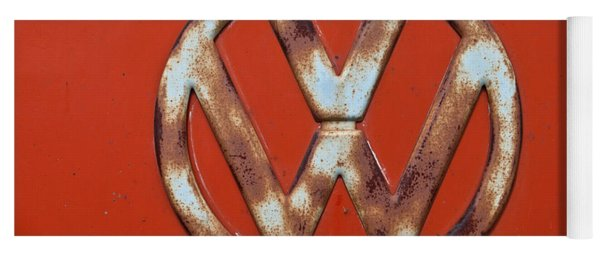Red Vw Bus Emblem Yoga Mat