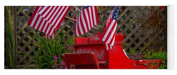 Red Wagon With Flags Yoga Mat