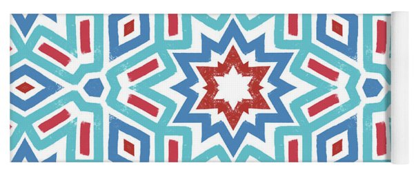 Red White And Blue Fireworks Pattern- Art By Linda Woods Yoga Mat