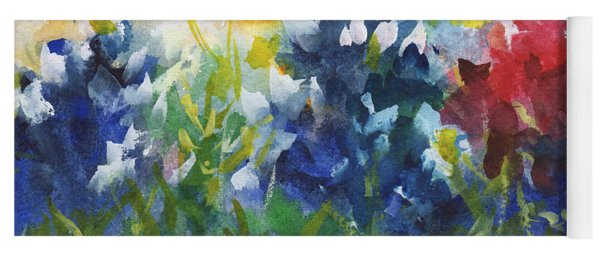 Red White And Bluebonnets Watercolor Painting By Kmcelwaine Yoga Mat