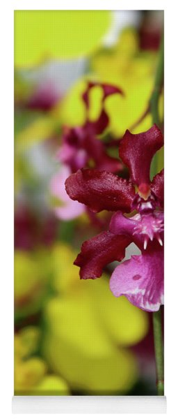 Maroon And Yellow Orchid Yoga Mat