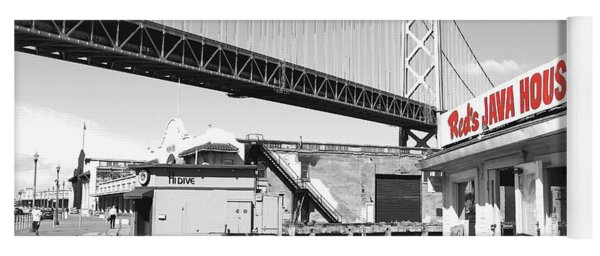 Reds Java House And The Bay Bridge In San Francisco Embarcadero . Black And White And Red Yoga Mat