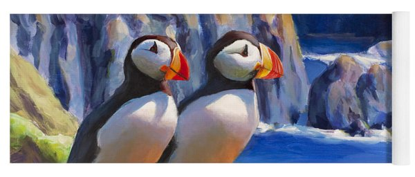 Horned Puffin Painting - Coastal Decor - Alaska Wall Art - Ocean Birds - Shorebirds Yoga Mat
