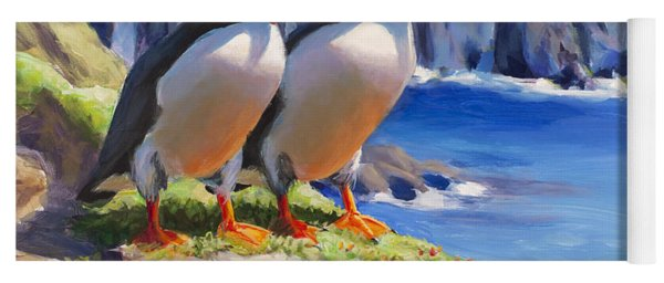 Reflecting - Horned Puffins - Coastal Alaska Landscape Yoga Mat
