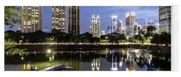 Reflection Of Jakarta Business District Skyline During Blue Hour Yoga Mat
