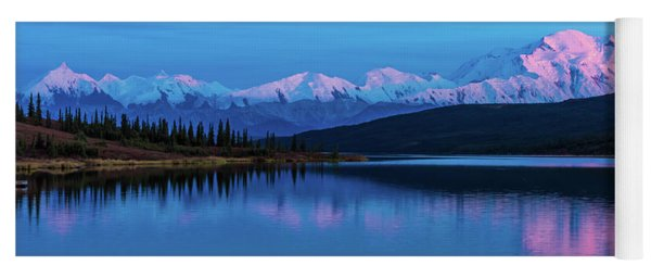 Sunset Reflections Of Denali In Wonder Lake Yoga Mat