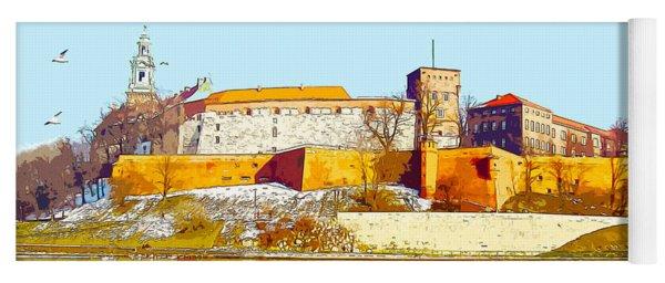 Reflections Of Wawel, Krakow Castle, Poland From The Vistula Riv Yoga Mat