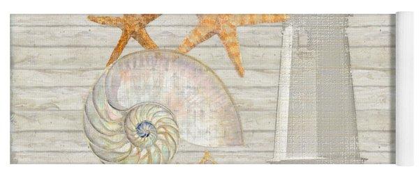Refreshing Shores - Lighthouse Starfish Nautilus N Conch Over Driftwood Background Yoga Mat