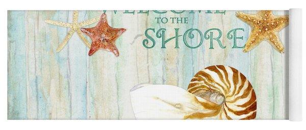 Refreshing Shores - Lighthouse Starfish Nautilus Sand Dollars Over Driftwood Background Yoga Mat