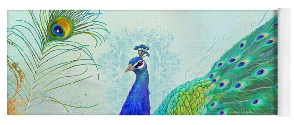 Regal Peacock 2 W Feather N Gold Leaf French Style Yoga Mat