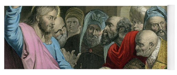 Render Unto Caesar  Jesus Holding The Roman Coin Yoga Mat