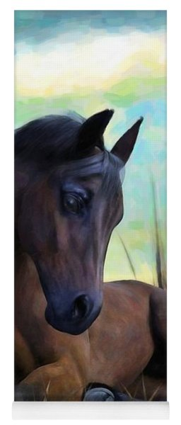 Yoga Mat featuring the painting Resting Foal by Sandra Bauser Digital Art