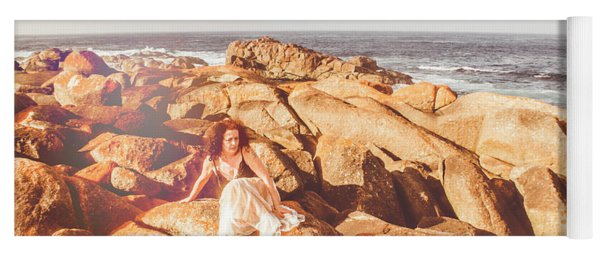 Resting On A Cliff Near The Ocean Yoga Mat