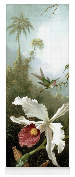 Retouched Masters - Orchid And Hummingbirds In Tropical Forest Yoga Mat