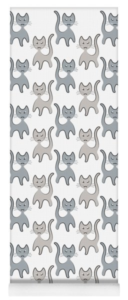 Retro Cat Graphic Pattern In Grays Yoga Mat