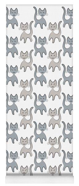 Retro Cat Graphic Pattern In Grays Yoga Mat