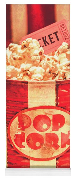 Retro Tub Of Butter Popcorn And Ticket Stub Yoga Mat