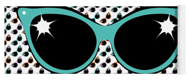 Retro Turquoise Cat Sunglasses Yoga Mat