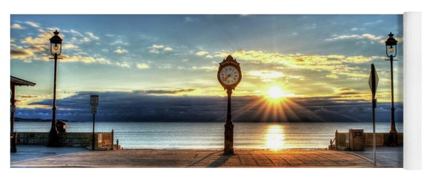 Revere Beach Clock At Sunrise Angled Long Shadow Revere Ma Yoga Mat