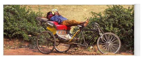 Yoga Mat featuring the photograph Rickshaw Rider Relaxing by Travel Pics