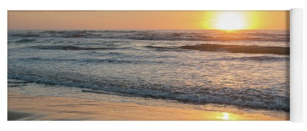 Rising Sun Reflecting On Wet Sand With Calm Ocean Waves In The B Yoga Mat