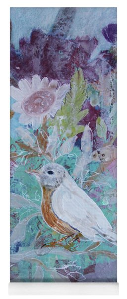 Yoga Mat featuring the painting Risky Robin by Robin Maria Pedrero