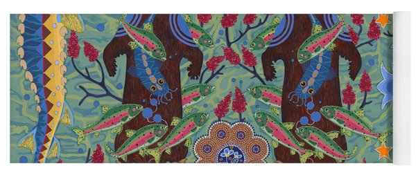 Yoga Mat featuring the painting River Spirit by Chholing Taha