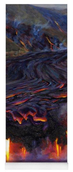 River Of Fire - Kilauea Volcano Eruption Lava Flow Hawaii Contemporary Landscape Decor Yoga Mat
