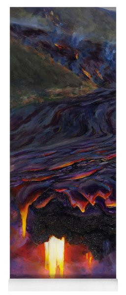 River Of Fire - Kilauea Volcano Eruption Lava Flow Hawaii Contemporary Landscape Decor Yoga Mat