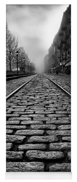River Street Railway - Black And White Yoga Mat