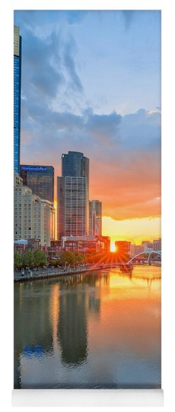 Yoga Mat featuring the photograph River Sunset by Ray Warren