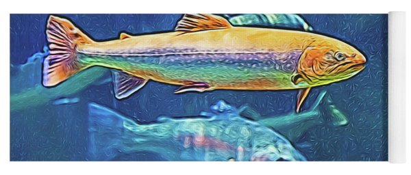 Yoga Mat featuring the digital art River Trout by Ray Shiu