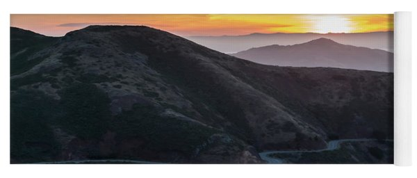 Road On The Edge Of The Mountain With Sunrise In The Background Yoga Mat