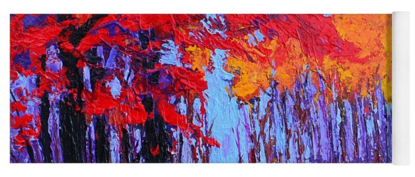 Road Within - Enchanted Forest Series - Modern Impressionist Landscape Painting - Palette Knife Yoga Mat