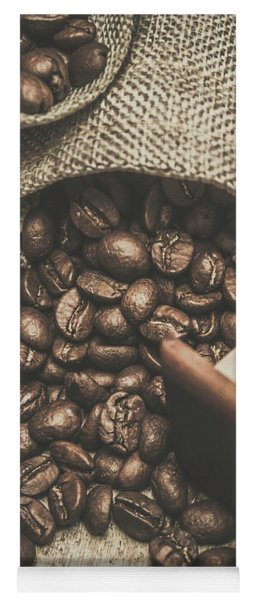Roasted Coffee Beans In Close-up  Yoga Mat