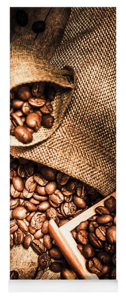 Roasted Coffee Beans In Drawer And Bags On Table Yoga Mat