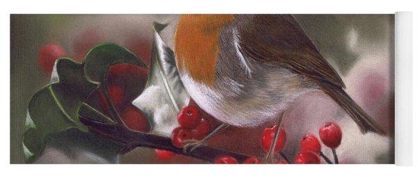 Robin And Berries Yoga Mat
