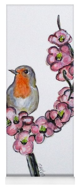 Robin And Peach Blossoms Yoga Mat
