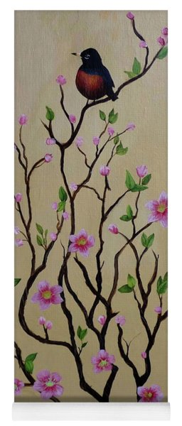 Robin And Spring Blossoms Yoga Mat