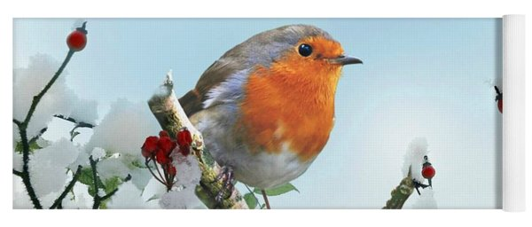 Robin In The Snow Yoga Mat
