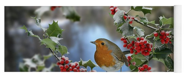 Robin On Holly Branch Yoga Mat
