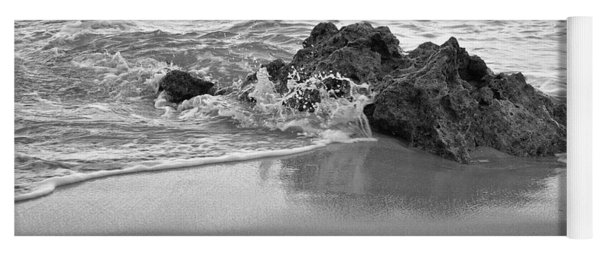 Rock And Waves In Albandeira Beach. Monochrome Yoga Mat