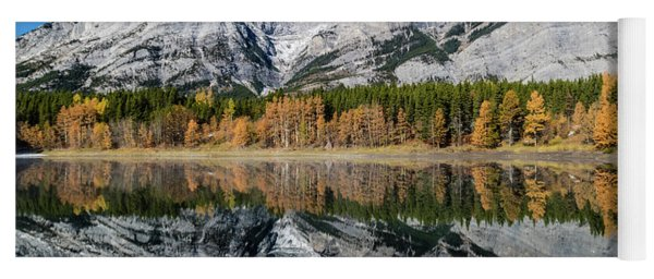 Rockies From Wedge Pond Under Late Fall Colours, Spray Valley Pr Yoga Mat