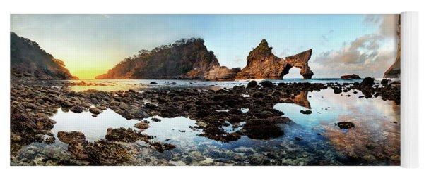 Yoga Mat featuring the photograph Rocky Beach Sunrise, Bali by Pradeep Raja Prints