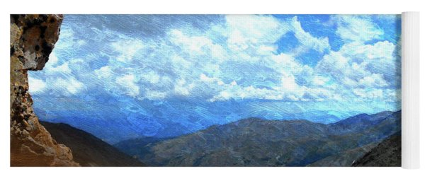Rocky Mountains Vista Oil Painting Yoga Mat