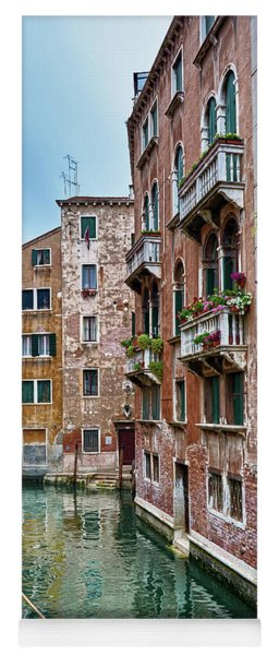 Gondola Ride Surrounded By Vintage Buildings In Venice, Italy Yoga Mat