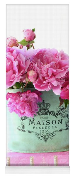 Paris Red Pink Peonies Maison Flowers Pink Book - French Aqua Pink Peonies Books Wall Decor Yoga Mat