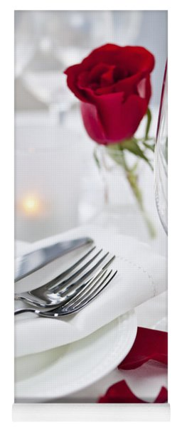 Romantic Dinner Setting With Rose Petals Yoga Mat