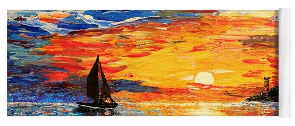 Yoga Mat featuring the painting Romantic Sea Sunset by Georgeta  Blanaru